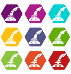 joystick icon set color hexahedron vector image