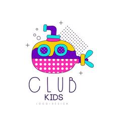kids club logo design label for development vector image