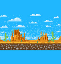 Landscape background pixel art 8-bit game vector