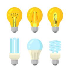 light bulbs flat style set vector image