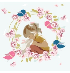Little girl playing with a rabbit vector