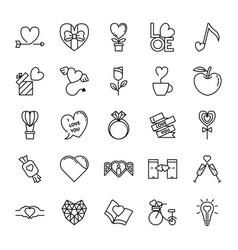 love and valentine line icons set vector image