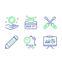 Loyalty card employee hand and screwdriverl icons vector