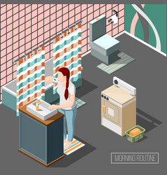 morning routine isometric composition vector image
