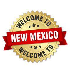 New mexico 3d gold badge with red ribbon vector