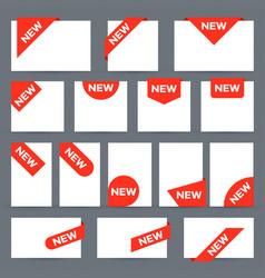 new ribbon labels corner banner tag label vector image