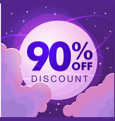 ninety percent discount numbers against the night vector image