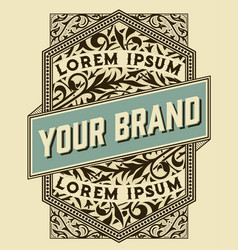 old label with floral details elements by layers vector image