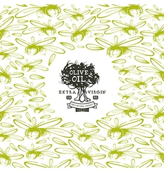 Olive oil label and frame with pattern vector image