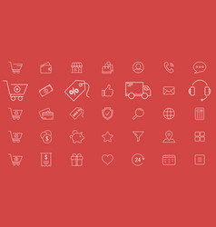 online store icons - set outline for web or vector image