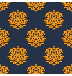 Orange colored floral seamless pattern vector image