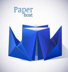 Origami paper blue boat vector