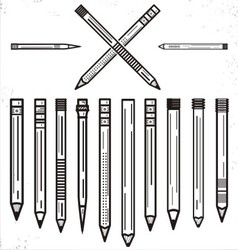 Outline Pencils Clip Art Set vector image