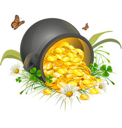 Overturned pot of gold coins Cauldron of gold vector image