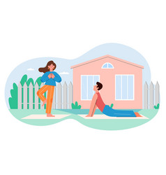 people practicing yoga activity flat vector image