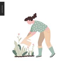 People summer gardening vector