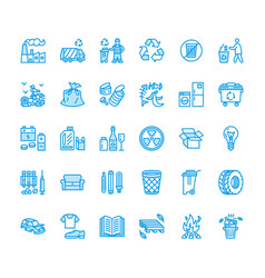 recycling flat line icons pollution recycle vector image
