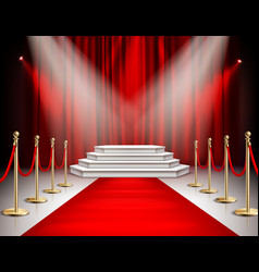 Red carpet curtain realistic image vector