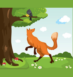 Red fox and crow with cheese funny characters vector