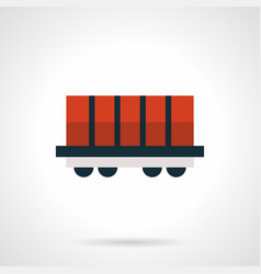 Red rail car platform flat red icon vector
