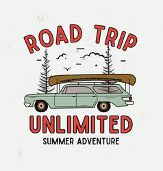 road trip summer adventure graphic for t-shirt vector image