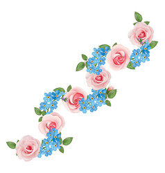 roses and forget-me-nots vector image