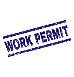 Scratched textured work permit stamp seal vector