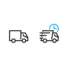 Set fast shipping delivery truck icons editable vector
