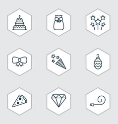 set of 9 holiday icons includes festive fireworks vector image