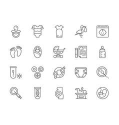 set pregnancy line icons babottle kids vector image