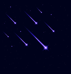 shooting stars in galaxy sky falling star vector image