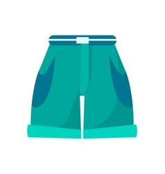 Shorts with high waist thin belt and deep pockets vector