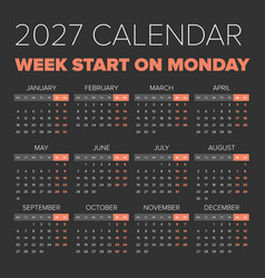 simple 2027 year calendar vector image