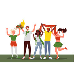 Soccer or football people fans celebrate goal vector