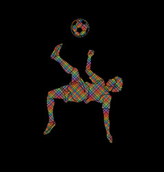 Soccer player somersault kick overhead kick vector