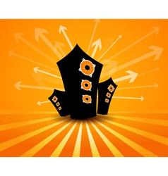 Speakers on orange background vector image