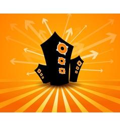 Speakers on orange background vector image