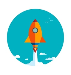 Start up new business project with rocket vector image
