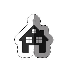 Sticker of black silhouette of church in white vector