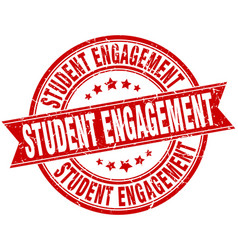 student engagement round grunge ribbon stamp vector image