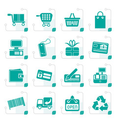 Stylized simple online shop icons vector
