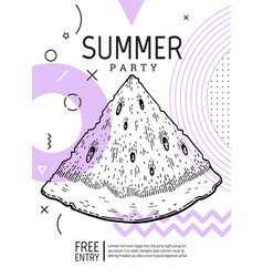 Summer party poster in geometric memphis style vector