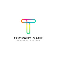 t ring letter with swoosh logo icon design vector image