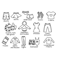 Types clothes icons vector
