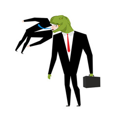 tyrannosaurus businessman is eating competitor vector image