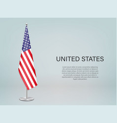 United states hanging flag on stand template vector
