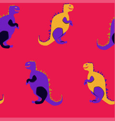 vibrant dinosaurs on the red background vector image