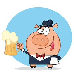 Waiter Pig Waiter Holding Up A Mug Of Frothy Beer vector