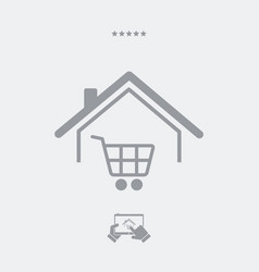 Web shopping and delivery to home - web icon vector