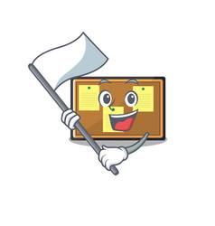 With flag toy bulletin board on cartoon vector